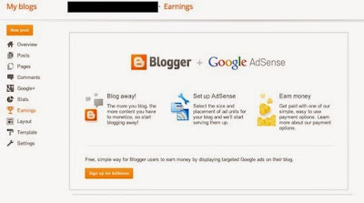 Old Blogger+Adsense screen