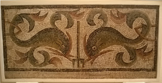 Mosaic of two dolphins