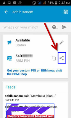 cara share kode PIN BBM ke sosial media