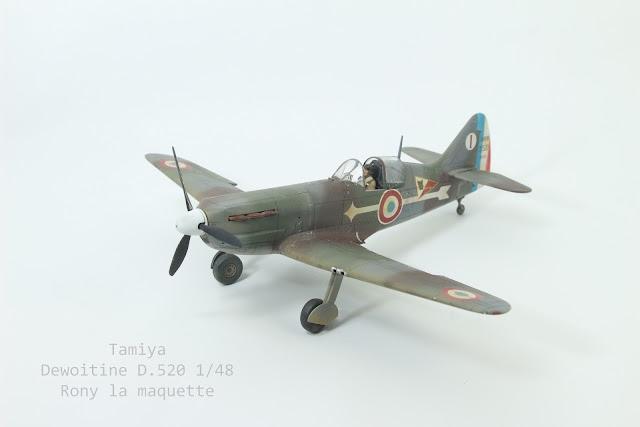 Maquette du Dewoitine D.520 de Tamiya au 1/48.