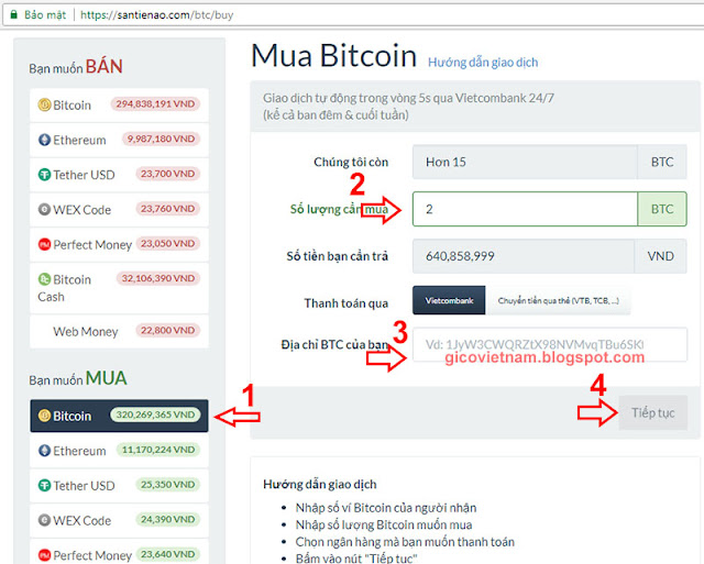 hướng dẫn mua Bitcoin trên santienao