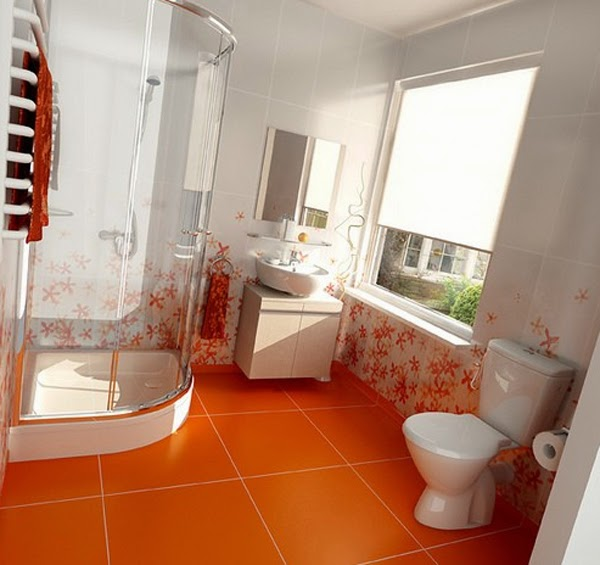 Baño color blanco y naranja
