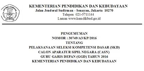 Pengumuman Pelaksanaan Seleksi Kompetensi Dasar (SKD) CASN GGD Kemdikbud 2016