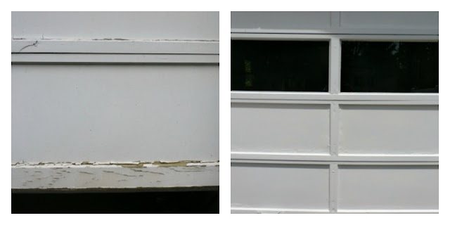 Garge door before and after painting