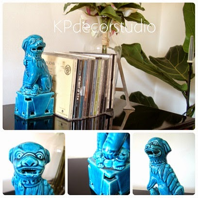 Perros foo. Dragones azules. Leones de cerámica turquesa.