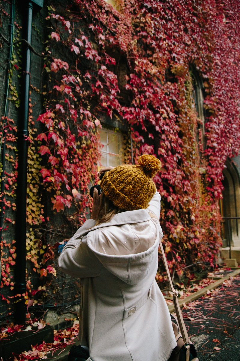 cambridge university autumn leaves cute bobble hat