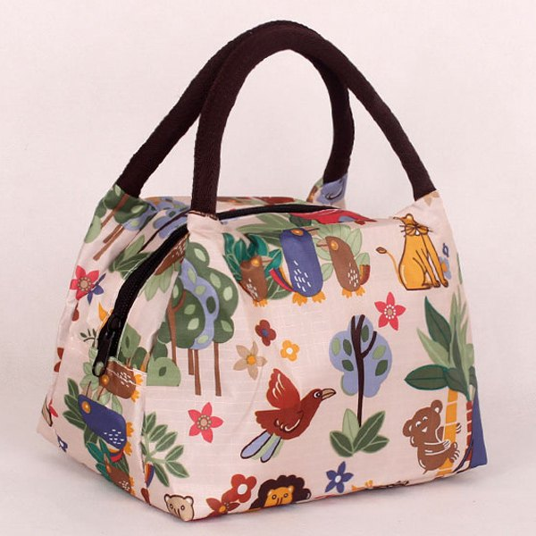 Nylon Color Spliced Animal Prints Tote Bag