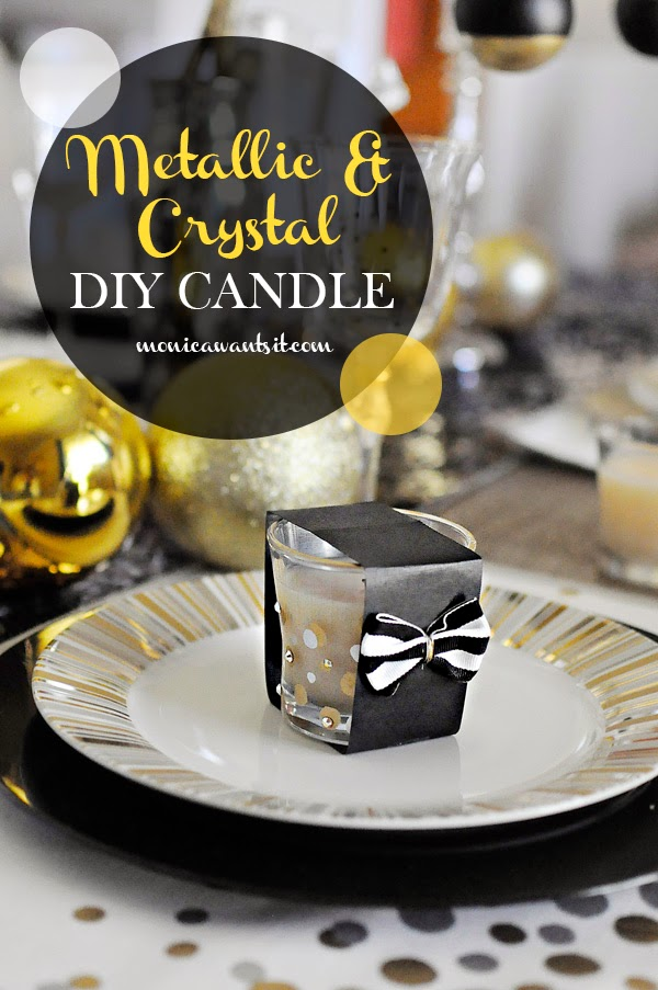 Create an upscale DIY metallic polka dot (with crystals) Glade candle. Check out more DIY gift ideas at www.monicawantsit.com