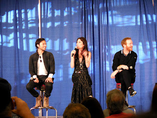 Image of Jesse Rath, Jaime Murray, and Tony Curran from Defiance