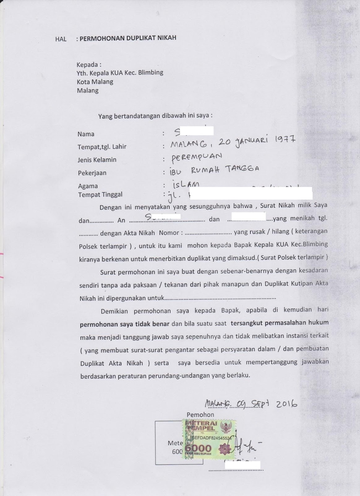 Contoh Surat Pernyataan Permohonan Duplikat Akta Nikah Kua