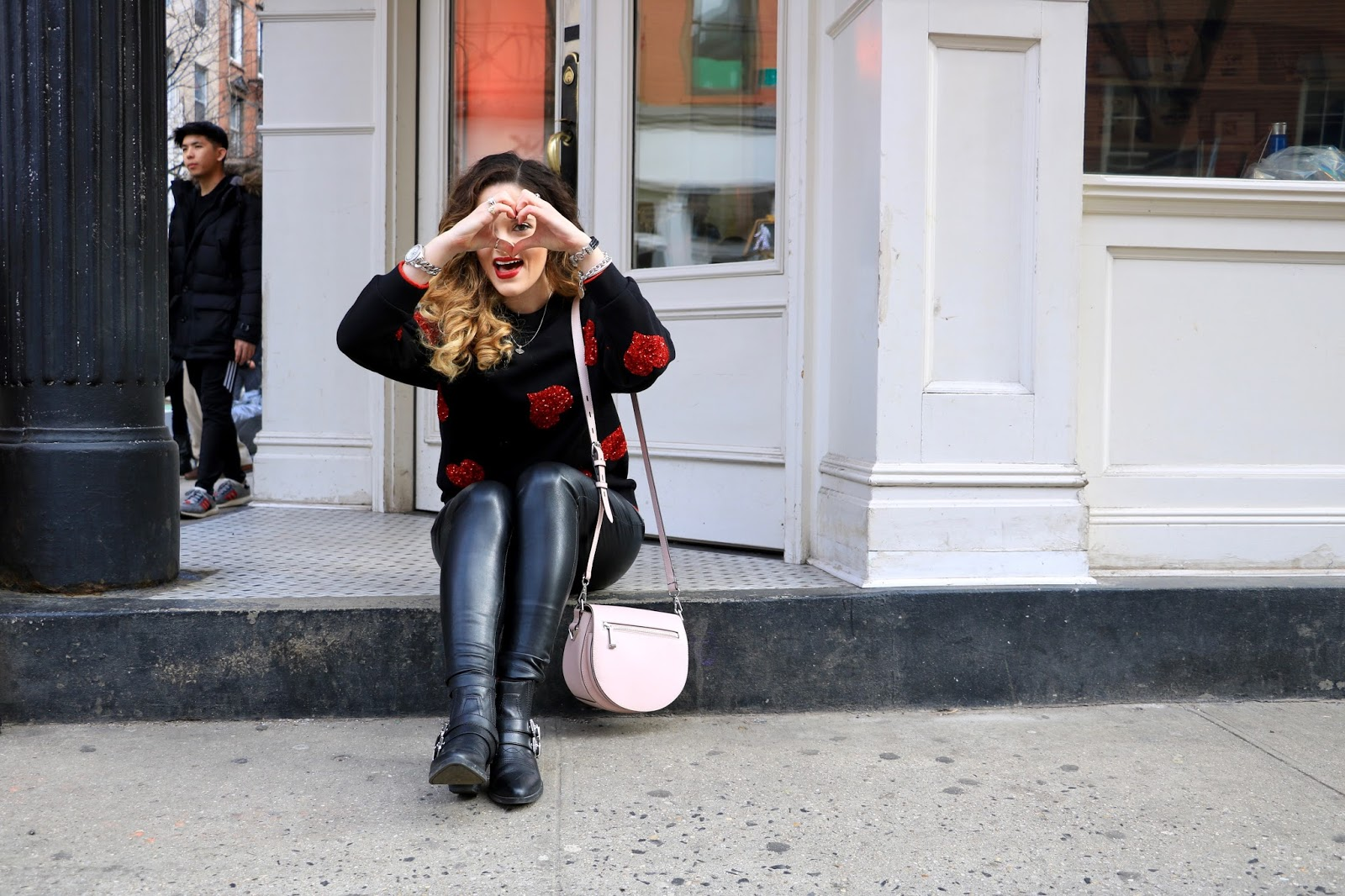 Nyc fashion blogger Kathleen Harper wearing a comfy Valentine's Day outfit