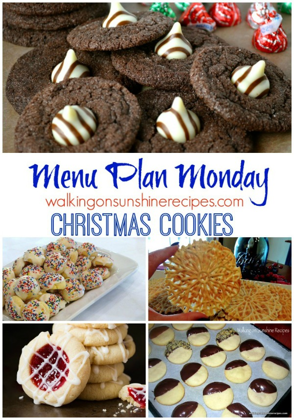 This week's Menu Plan Monday is all about Christmas Cookies from Walking on Sunshine Recipes