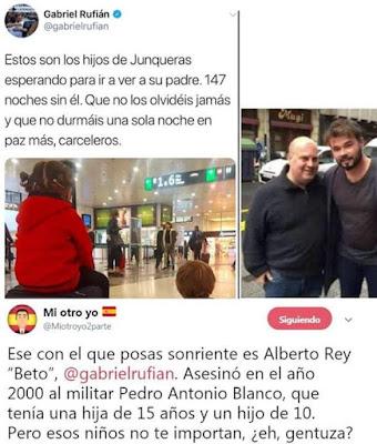 Gabriel Rufián, Junqueras, Alberto Rey 'Beto'