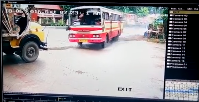 A KSRTC bus on its way to Munnar was involved in a scary accident on Saturday at Mulakkuzha, Kerala, which was caught on camera.   A CCTV grab shows the bus colliding with a lorry on the highway and veering towards an empty space. It hits another lorry, which is parked at a distance.