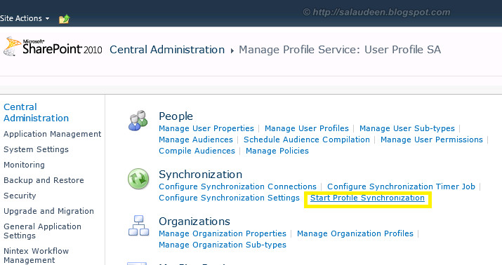 Start SharePoint Profile Synchronization