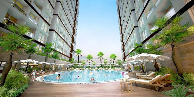 bể bơi trên cao tại dự án Green Pearl Minh Khai