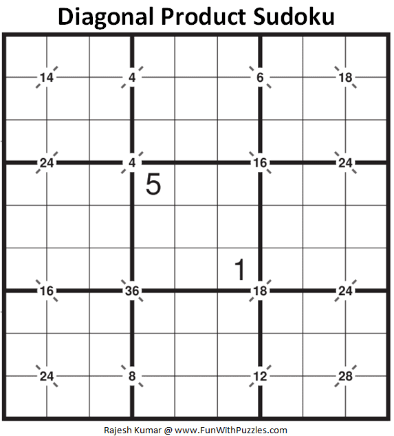 Diagonal Product Sudoku Puzzle (Daily Sudoku League #226)