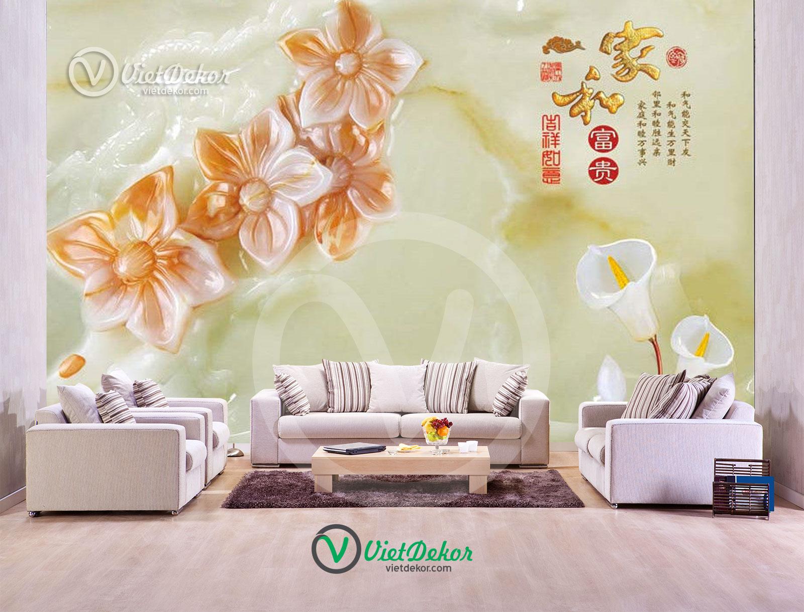 Tranh 3d dán tường hoa phòng ngủ đẹp