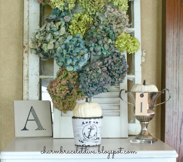 dried hydrangeas canvas alphabet art silver loving cup trophy