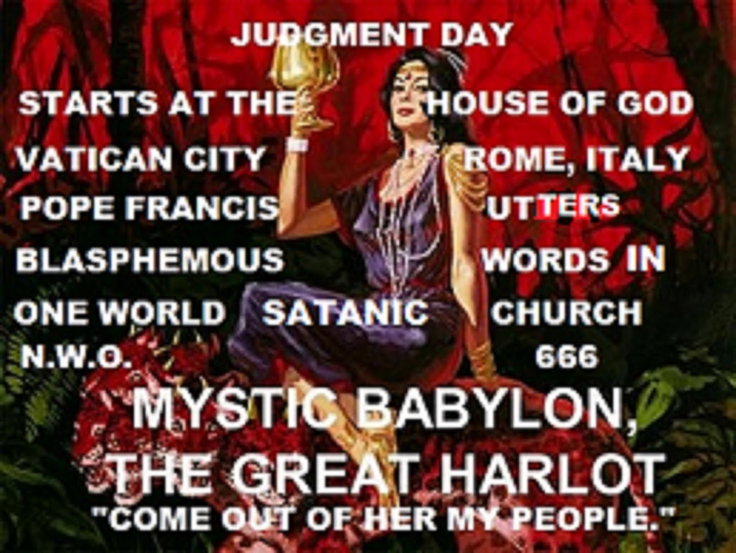 "JUDGEMENT DAY ON THE CHURCH AKA ""THE GREAT WHORE OF BABYLON"""