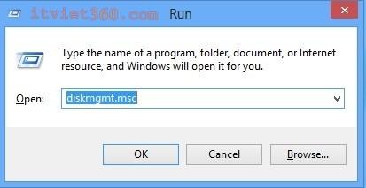 Run trên Windows 8, diskmgmt.msc