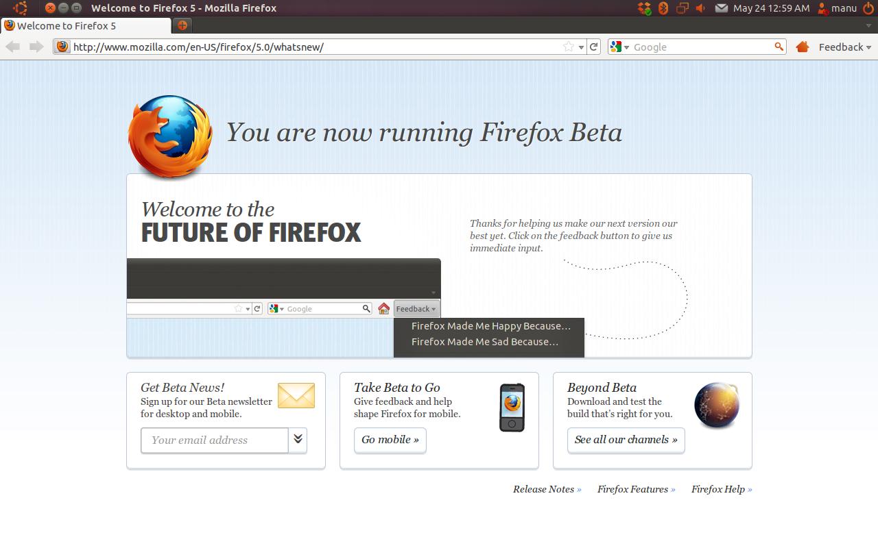 Install Firefox 5 Beta in Ubuntu 11 04 Natty Narwhal(PPA)