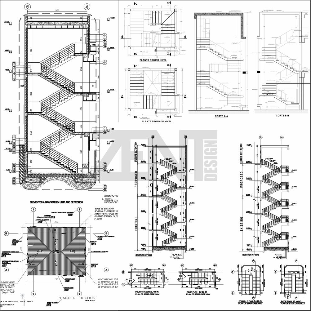 Escaleras de concreto planos concrete stairs zent for Planos de escaleras en u