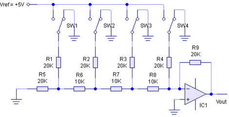 Rangkaian DAC jenis tangga R-2R dengan Op-Amp
