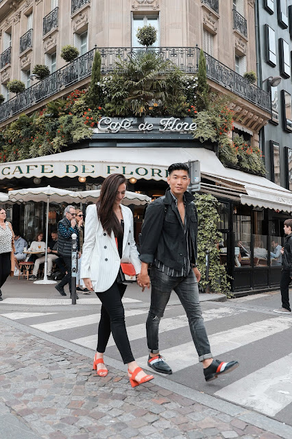 Alicia Mara and Leo Chan at Café de Flore in Paris