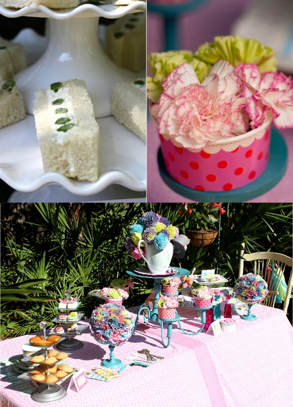 Alice in Wonderland Mad Hatter Tea Party Desserts Table - via BirdsParty.com