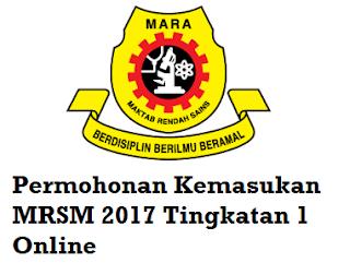 Permohonan MRSM 2017 Tingkatan 1 Online