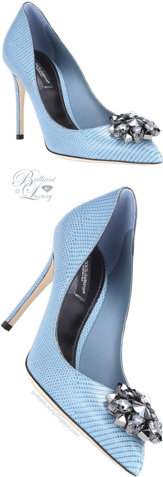 Brilliant Luxury ♦ Dolce & Gabbana Bellucci blue leather pumps