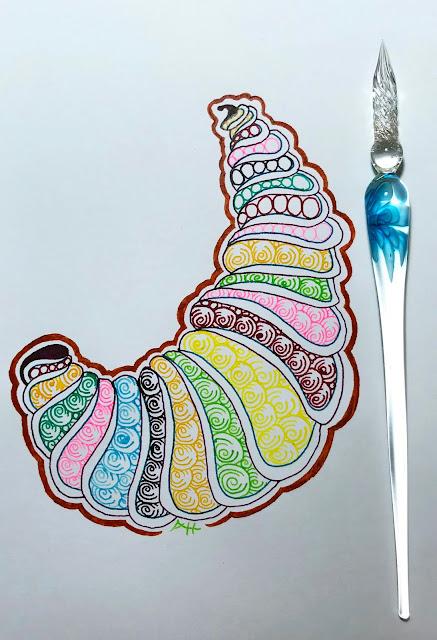 glass dip pen art using Liquitex inks, beautiful bright colors and pen shown