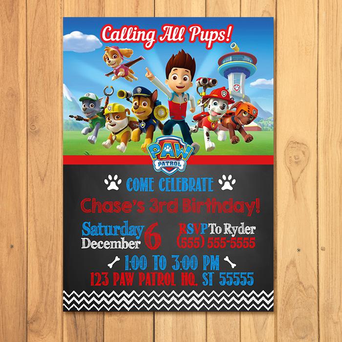 Paw Patrol Invitation Chalkboard Theme ~ Free Paw Patrol Printables