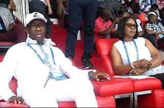 Okowa and wife at Asaba 2018 african athletic championship , Stephen keshi stadium