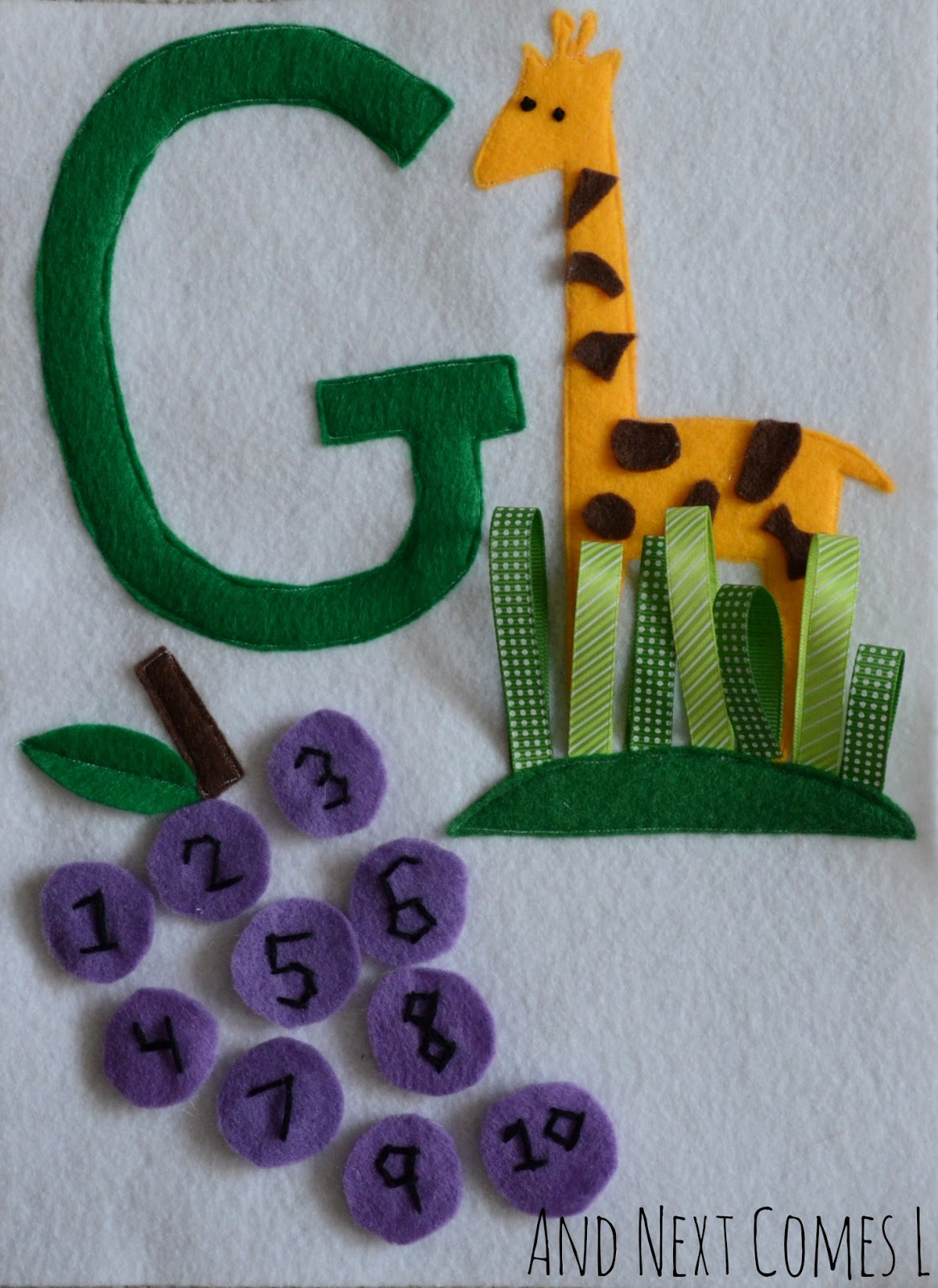 Letter G quiet book page from And Next Comes L