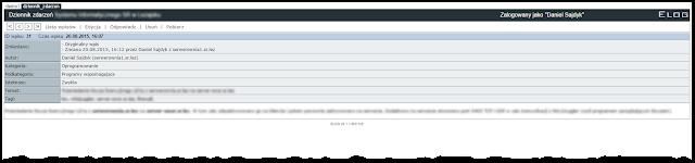 Przykładowy wpis (sample entry)