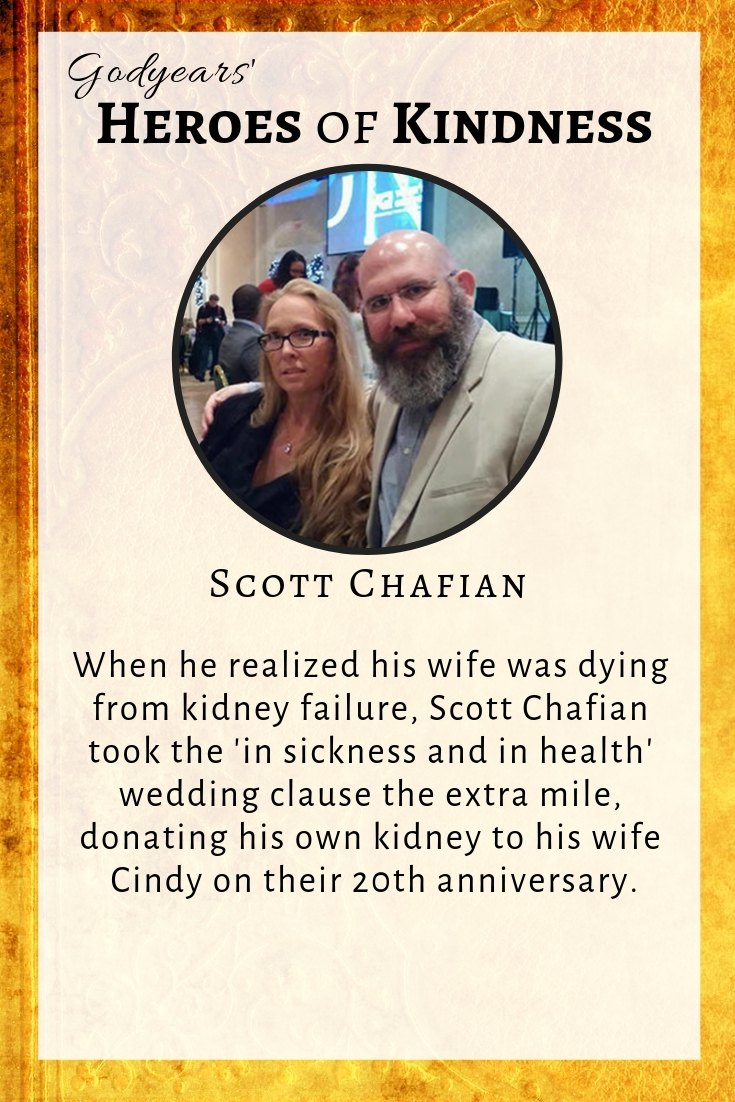 On their 20th wedding anniversary, Scott Chafian donated his kidney to his wife to save her life