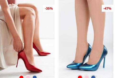 Pantofi stiletto eleganti din piele lacuita albastri, Rosii