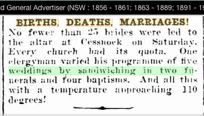 HEADLINES OF OLD: BIRTHS, DEATHS, MARRIAGES  RANDOM SELECTION   1901