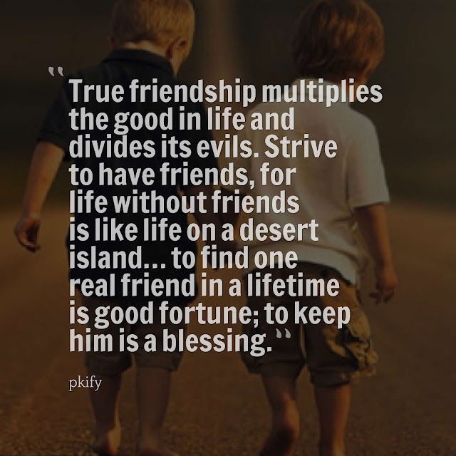True Friendship Multiplies the Good in Life and Divides Its Evils Strive to Have Friends, for Life Without Friendship Quotes