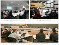 Snapshots of negotiators who split into groups in climate talks in Bonn, Germany, to address contested details in a draft climate agreement ahead of final talks in Paris late in the year. (Credit: IISD.ca) Click to Enlarge.