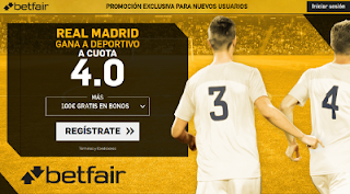 betfair supercuota victoria de Real Madrid al Deportivo liga 20 agosto