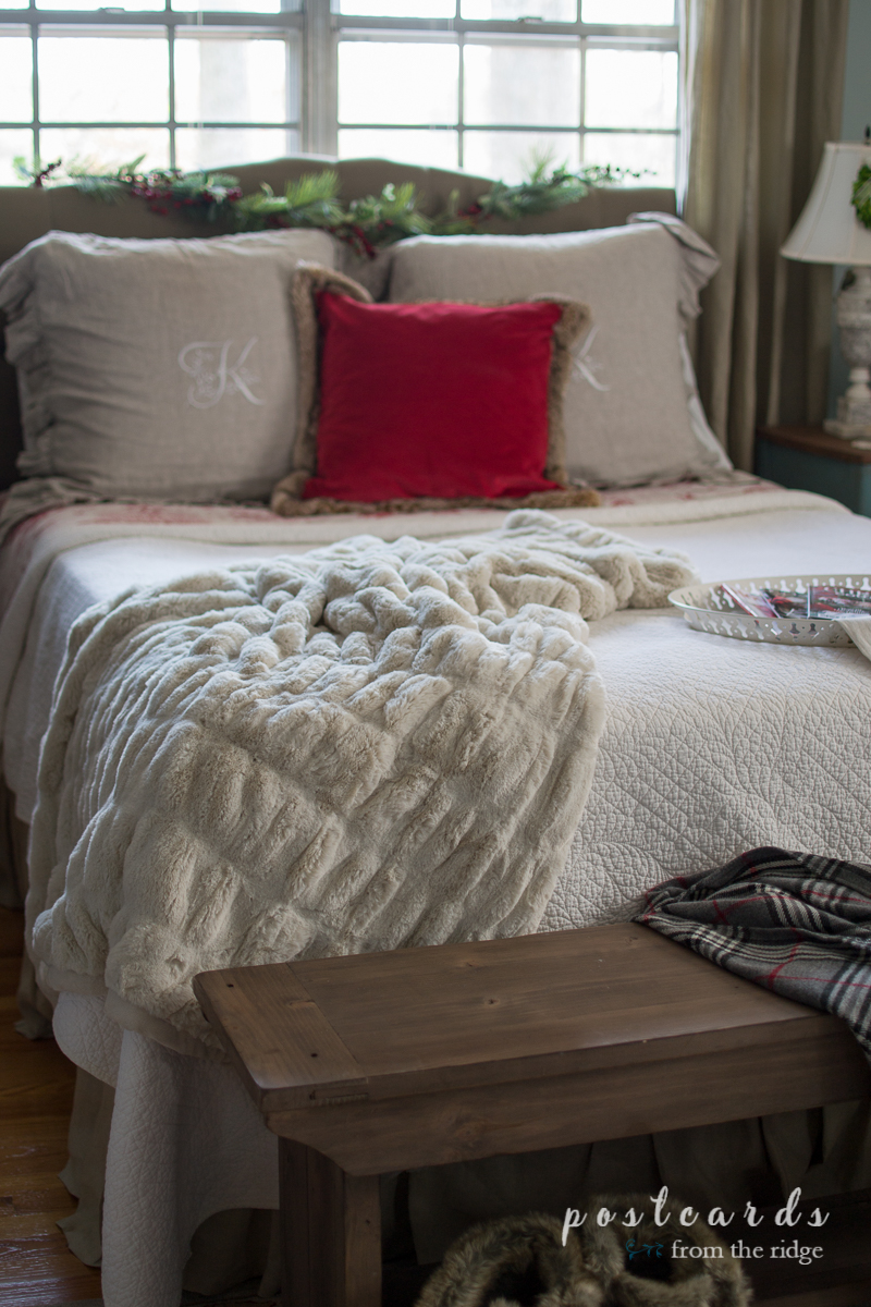 Love this cozy bedroom. Lots of tips for adding coziness to the house during the holidays.