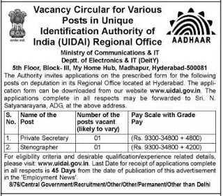 UIDAI Recruitment 2016 - Private Secretary, Stenographer Posts