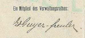 detail from share in Pilatus Railway company with signature of Eduard Guyer-Freuler