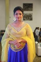 Actress Eesha in Yellow Choli Blue Ghagra at Darshakudu music launch 031.JPG
