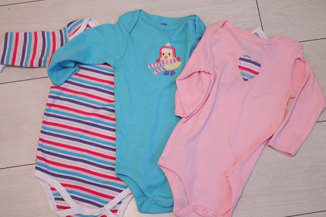 3 pack of long sleeved baby vests from tk maxx pink blue and purple with duck