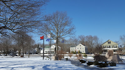 flags on the Town Common pegged  out due to the wind