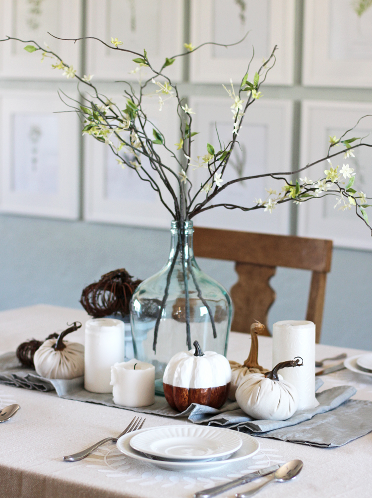 Make your own Thanksgiving decoration using iron-on craft vinyl and a canvas drop cloth
